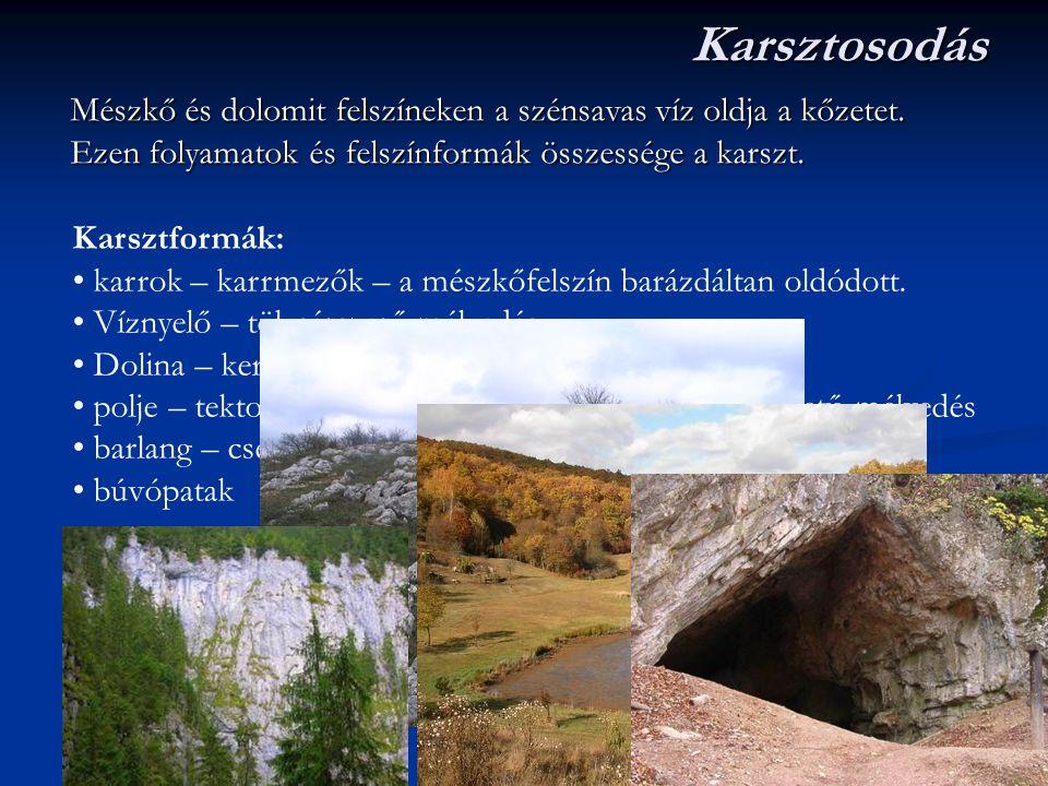 Karsztosodás Mészkő és dolomit felszíneken a szénsavas víz oldja a kőzetet. Ezen folyamatok és felszínformák összessége a karszt. Karsztformák: karrok
