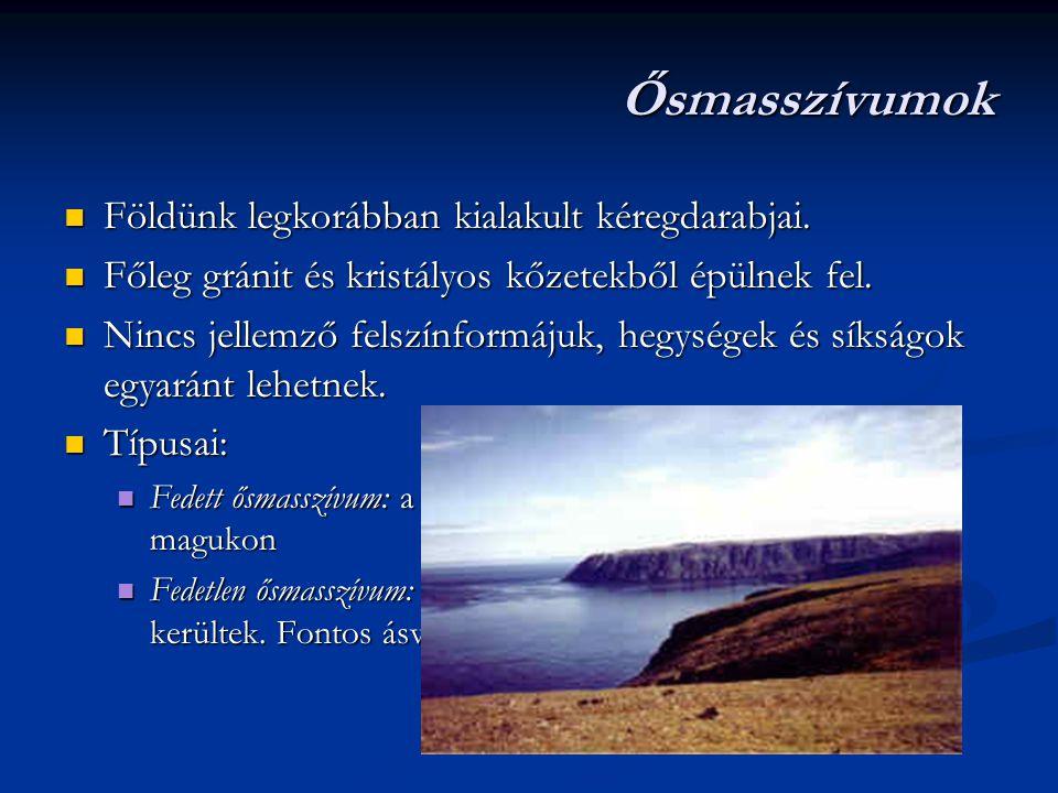 Újidő - harmadidőszak Észak-Amerika teljesen elvált Eurázsiától Észak-Amerika teljesen elvált Eurázsiától A Tethys teljesen megsemmisült, mai utóda a Földközi- tenger, a Fekete-tenger, az Aral-tó és a Kaszpi-tenger A Tethys teljesen megsemmisült, mai utóda a Földközi- tenger, a Fekete-tenger, az Aral-tó és a Kaszpi-tenger Megindultak a lepusztulások – a hordalékból feltöltött síkságok keletkeztek Megindultak a lepusztulások – a hordalékból feltöltött síkságok keletkeztek Összezárult a szárazföldi híd Észak- és Dél-Amerika között Összezárult a szárazföldi híd Észak- és Dél-Amerika között Ásványkincs: barnakőszén, kőolaj, földgáz, sótelepek Ásványkincs: barnakőszén, kőolaj, földgáz, sótelepek Élővilág: emlősök, virágos növények Élővilág: emlősök, virágos növények