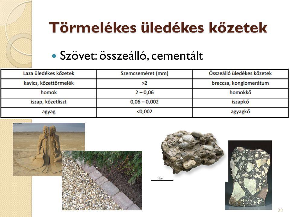 Törmelékes üledékes kőzetek Szövet: összeálló, cementált 28