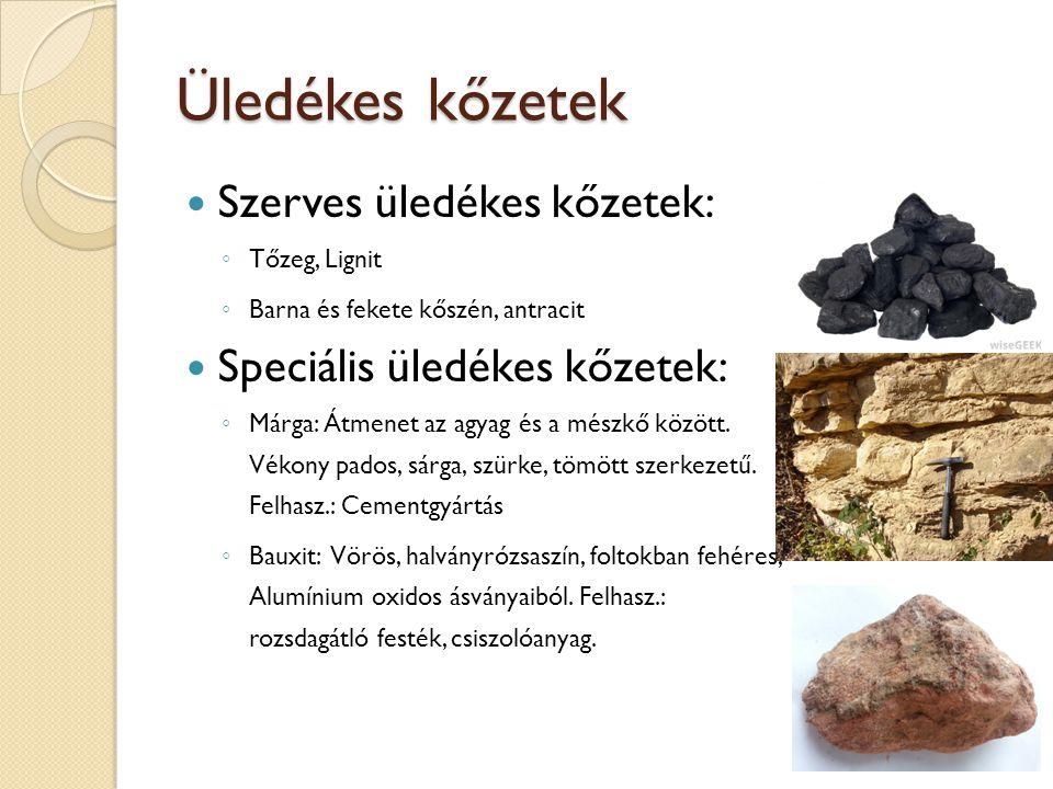 Üledékes kőzetek Szerves üledékes kőzetek: ◦ Tőzeg, Lignit ◦ Barna és fekete kőszén, antracit Speciális üledékes kőzetek: ◦ Márga: Átmenet az agyag és
