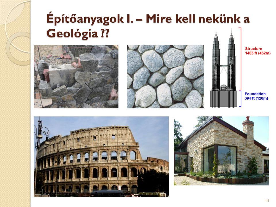 Építőanyagok I. – Mire kell nekünk a Geológia ?? 44