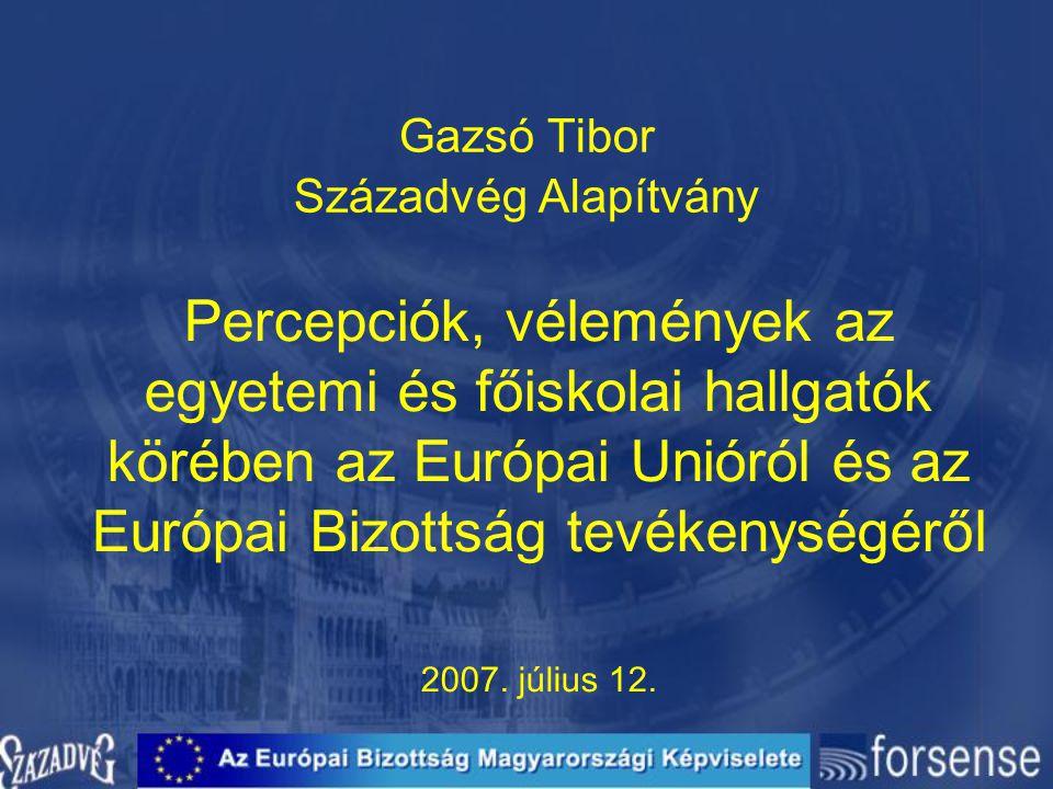 Gazsó Tibor Századvég Alapítvány Percepciók, vélemények az egyetemi és főiskolai hallgatók körében az Európai Unióról és az Európai Bizottság tevékenységéről 2007.