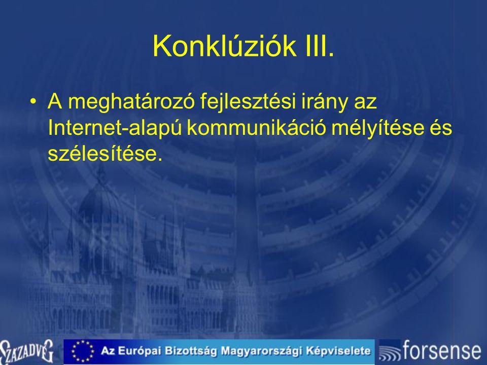Konklúziók III. A meghatározó fejlesztési irány az Internet-alapú kommunikáció mélyítése és szélesítése.