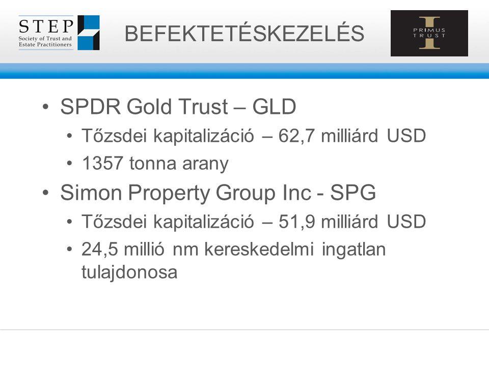 SPDR Gold Trust – GLD Tőzsdei kapitalizáció – 62,7 milliárd USD 1357 tonna arany Simon Property Group Inc - SPG Tőzsdei kapitalizáció – 51,9 milliárd