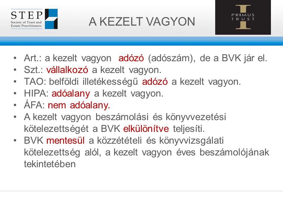A KEZELT VAGYON Art.: a kezelt vagyon adózó (adószám), de a BVK jár el. Szt.: vállalkozó a kezelt vagyon. TAO: belföldi illetékességű adózó a kezelt v