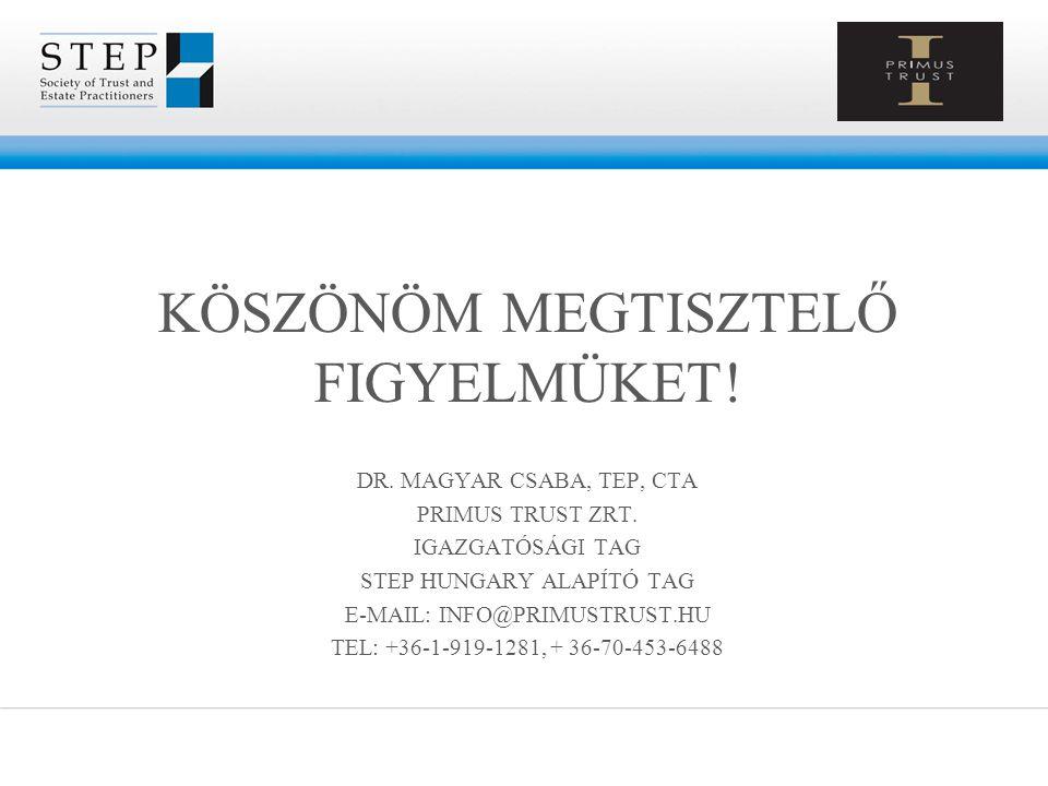 KÖSZÖNÖM MEGTISZTELŐ FIGYELMÜKET! DR. MAGYAR CSABA, TEP, CTA PRIMUS TRUST ZRT. IGAZGATÓSÁGI TAG STEP HUNGARY ALAPÍTÓ TAG E-MAIL: INFO@PRIMUSTRUST.HU T