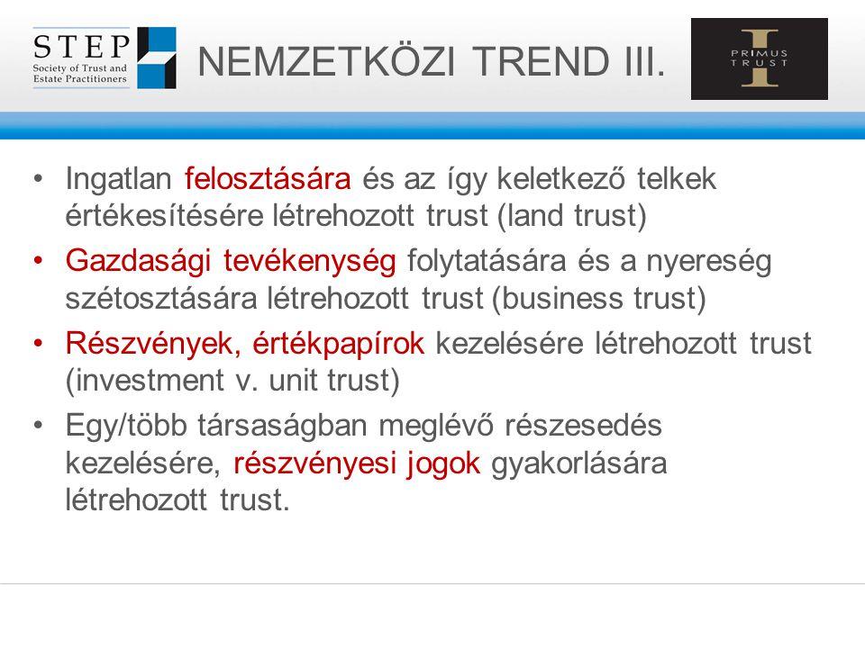 NEMZETKÖZI TREND III. Ingatlan felosztására és az így keletkező telkek értékesítésére létrehozott trust (land trust) Gazdasági tevékenység folytatásár