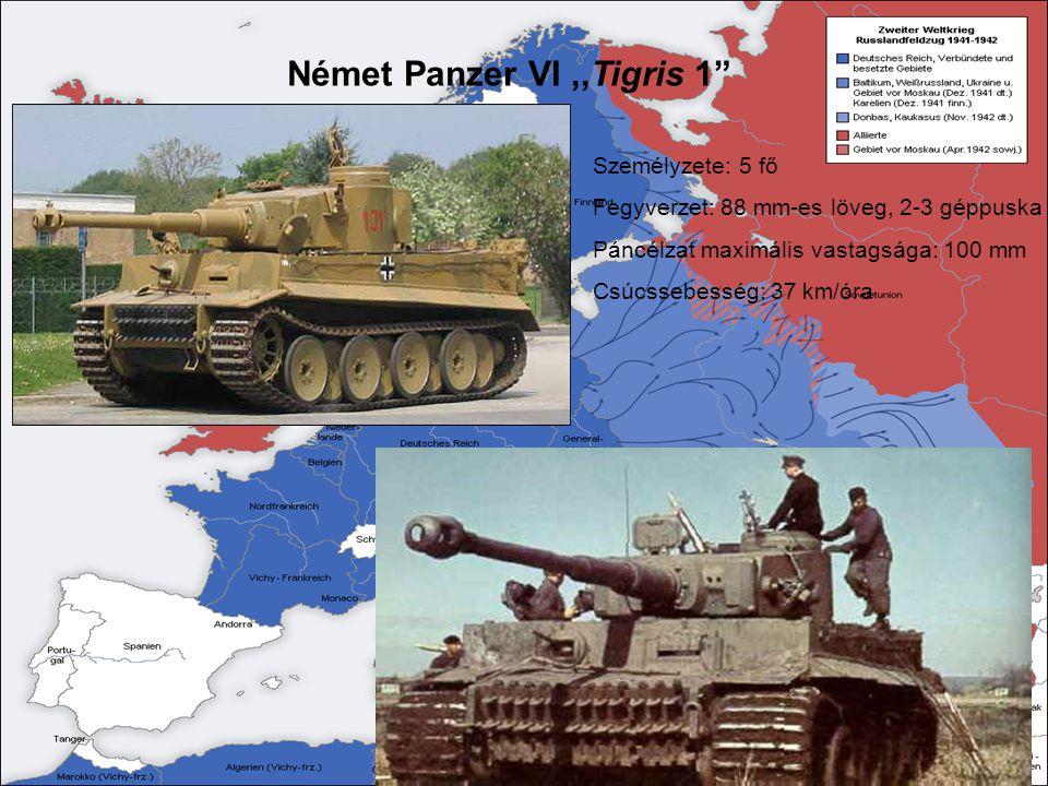 """Német Panzer VI,,Tigris 1"""" Személyzete: 5 fő Fegyverzet: 88 mm-es löveg, 2-3 géppuska Páncélzat maximális vastagsága: 100 mm Csúcssebesség: 37 km/óra"""