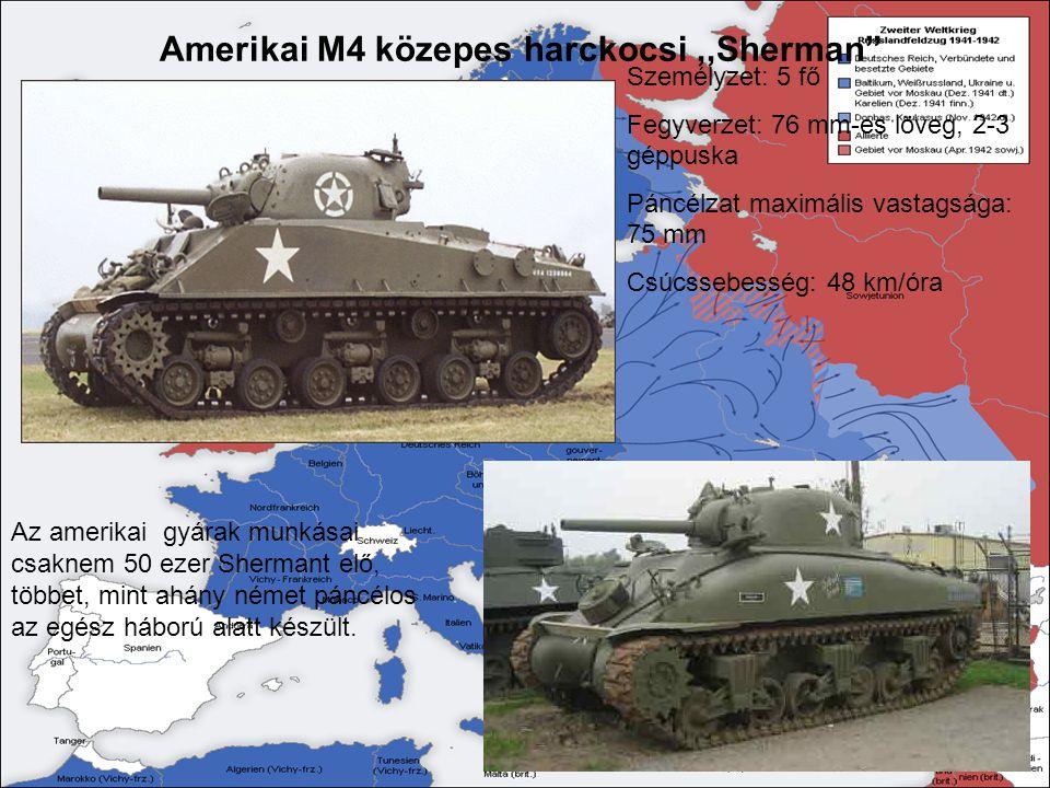 Személyzet: 5 fő Fegyverzet: 76 mm-es löveg, 2-3 géppuska Páncélzat maximális vastagsága: 75 mm Csúcssebesség: 48 km/óra Az amerikai gyárak munkásai c