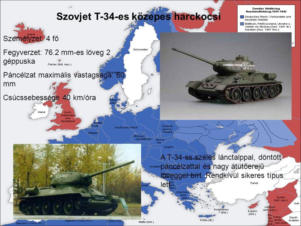 Szovjet T-34-es közepes harckocsi A T-34-es széles lánctalppal, döntött páncélzattal és nagy átütőerejű löveggel bírt. Rendkívül sikeres típus lett Sz