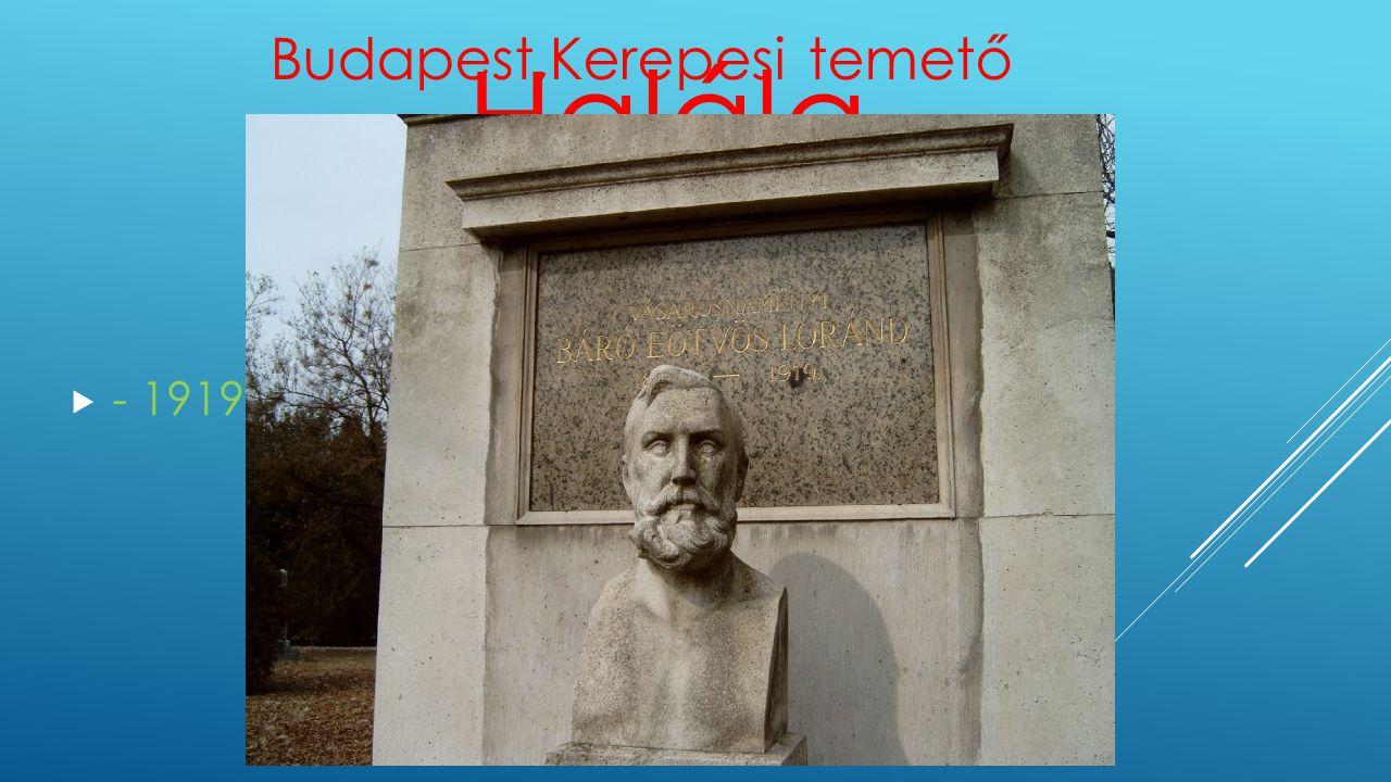 Halála  - 1919 április 8. Budapest Budapest,Kerepesi temető