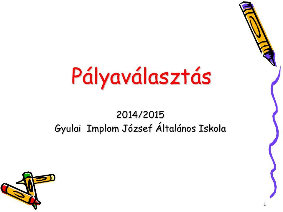 1 Pályaválasztás 2014/2015 Gyulai Implom József Általános Iskola