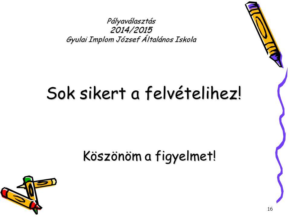 16 Pályaválasztás 2014/2015 Gyulai Implom József Általános Iskola Sok sikert a felvételihez! Köszönöm a figyelmet!
