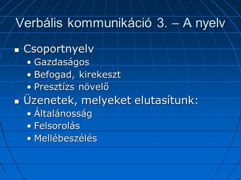 Verbális kommunikáció 3.