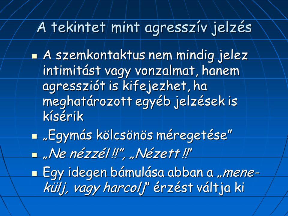 """A tekintet mint agresszív jelzés A szemkontaktus nem mindig jelez intimitást vagy vonzalmat, hanem agressziót is kifejezhet, ha meghatározott egyéb jelzések is kísérik A szemkontaktus nem mindig jelez intimitást vagy vonzalmat, hanem agressziót is kifejezhet, ha meghatározott egyéb jelzések is kísérik """"Egymás kölcsönös méregetése """"Egymás kölcsönös méregetése """"Ne nézzél !! , """"Nézett !! """"Ne nézzél !! , """"Nézett !! Egy idegen bámulása abban a """"mene- külj, vagy harcolj érzést váltja ki Egy idegen bámulása abban a """"mene- külj, vagy harcolj érzést váltja ki"""
