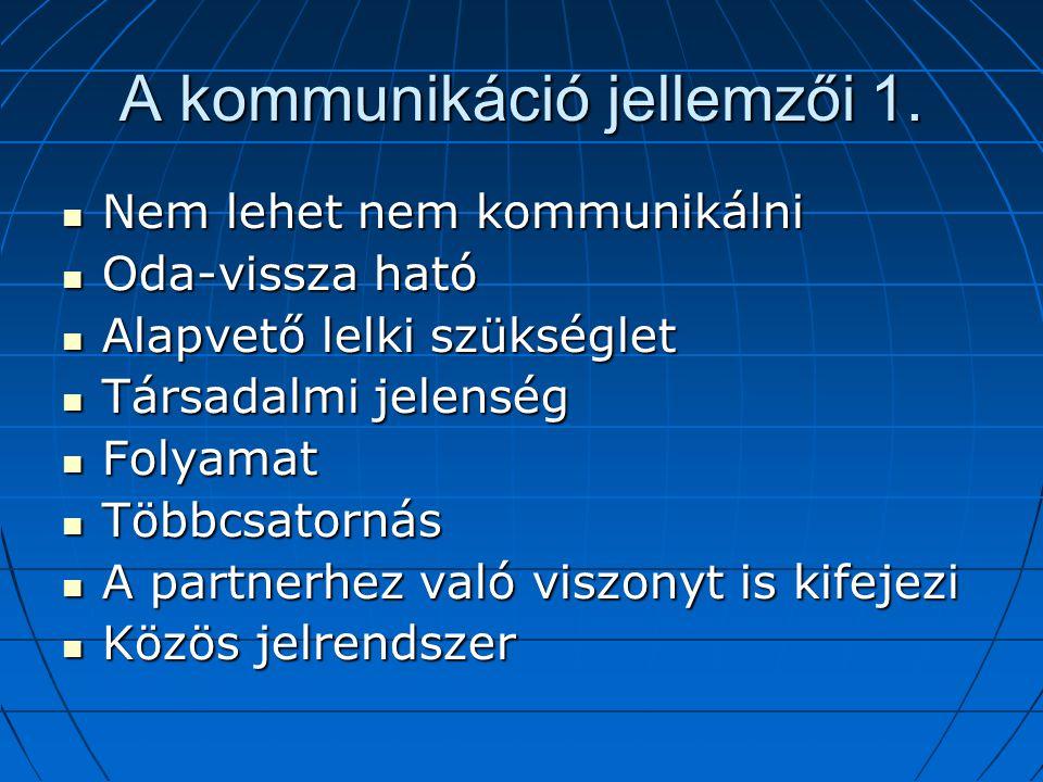 A kommunikáció jellemzői 1.