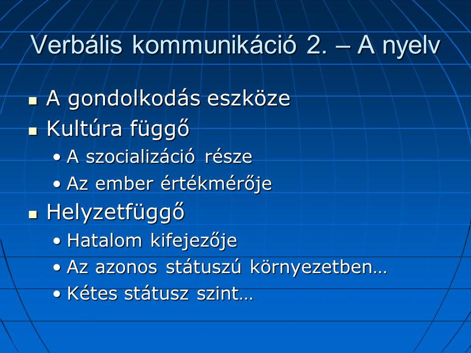 Verbális kommunikáció 2.