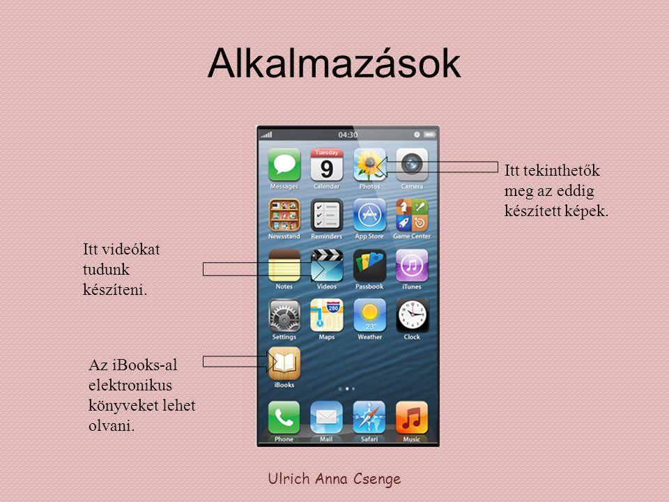 Alkalmazások Ulrich Anna Csenge Az iBooks-al elektronikus könyveket lehet olvani. Itt tekinthetők meg az eddig készített képek. Itt videókat tudunk ké