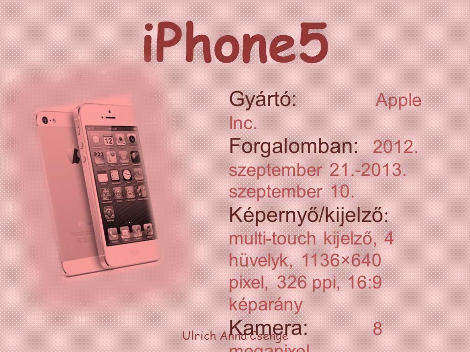iPhone5 Ulrich Anna Csenge Processzor: 1,2 GHz, kétmagos Tárhely: 16, 32, 64 GB Akkumulátor: 1440 mAh, 3,8 V Méretek: 123,8 x 58,6 x 7,6 mm Tömeg: 112 g