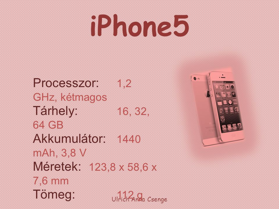 iPhone5 Ulrich Anna Csenge Processzor: 1,2 GHz, kétmagos Tárhely: 16, 32, 64 GB Akkumulátor: 1440 mAh, 3,8 V Méretek: 123,8 x 58,6 x 7,6 mm Tömeg: 112