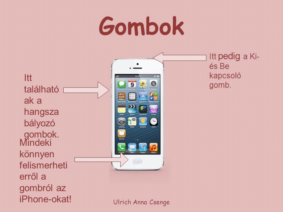 Gombok Ulrich Anna Csenge Mindeki könnyen felismerheti erről a gombról az iPhone-okat! Itt található ak a hangsza bályozó gombok. Itt pedig a Ki- és B
