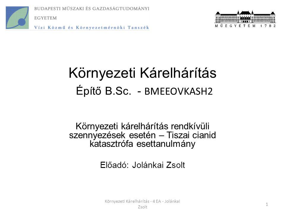 Tiszai cianid katasztrófa tényszerűen Nagybányai meddő-zagy tározó gátja átszakadt 2000 január 30.-án 22:00 órakor A meddőből ciános kioldással nyertek ki aranyat és ezüstöt (elavult technológia) Kárelhárítási terv hiányában nem is tettek intézkedéseket a lokalizálásra A szennyezőanyag útja:Lápos folyó  Szamosba  Tisza  Duna  Fekete tenger A kiömlő cianid ion mennyisége 100-200 t volt (100,000 m 3 cianidos zagy) Cianidon kívül nehézfémek is nagy mennyiségben kerültek a befogadóba.