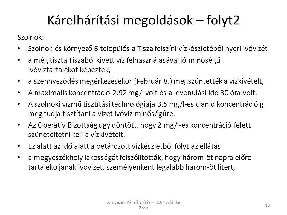 Kárelhárítási megoldások – folyt2 Szolnok: Szolnok és környező 6 település a Tisza felszíni vízkészletéből nyeri ivóvizét a még tiszta Tiszából kivett