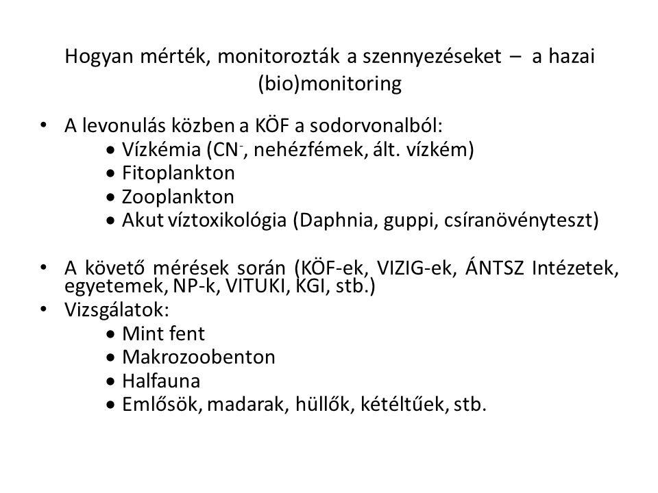 Hogyan mérték, monitorozták a szennyezéseket – a hazai (bio)monitoring A levonulás közben a KÖF a sodorvonalból:  Vízkémia (CN -, nehézfémek, ált. ví