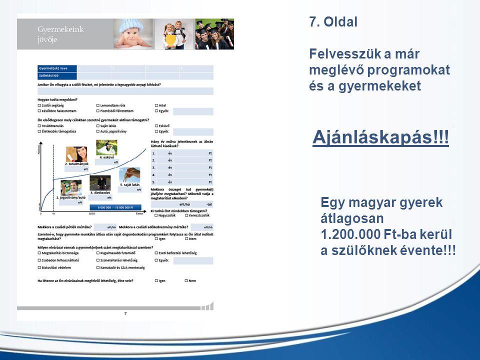 7. Oldal Felvesszük a már meglévő programokat és a gyermekeket Ajánláskapás!!! Egy magyar gyerek átlagosan 1.200.000 Ft-ba kerül a szülőknek évente!!!
