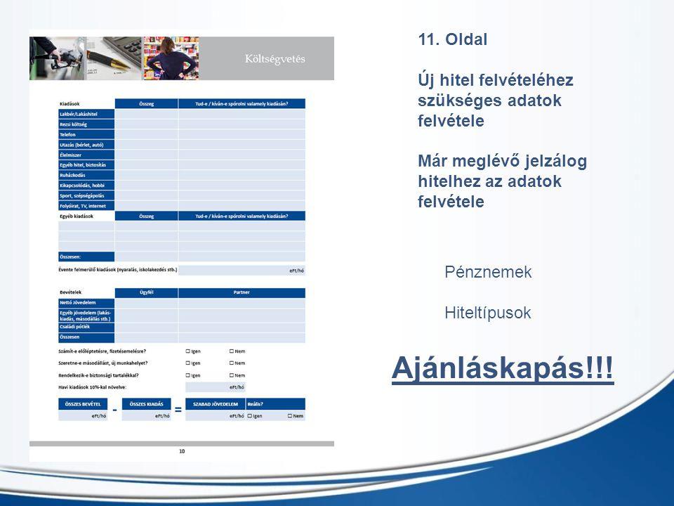 11. Oldal Új hitel felvételéhez szükséges adatok felvétele Már meglévő jelzálog hitelhez az adatok felvétele Pénznemek Hiteltípusok Ajánláskapás!!!