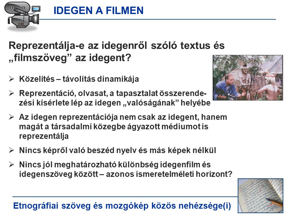 """IDEGEN A FILMEN Etnográfiai szöveg és mozgókép közös nehézsége(i) Reprezentálja-e az idegenről szóló textus és """"filmszöveg az idegent."""
