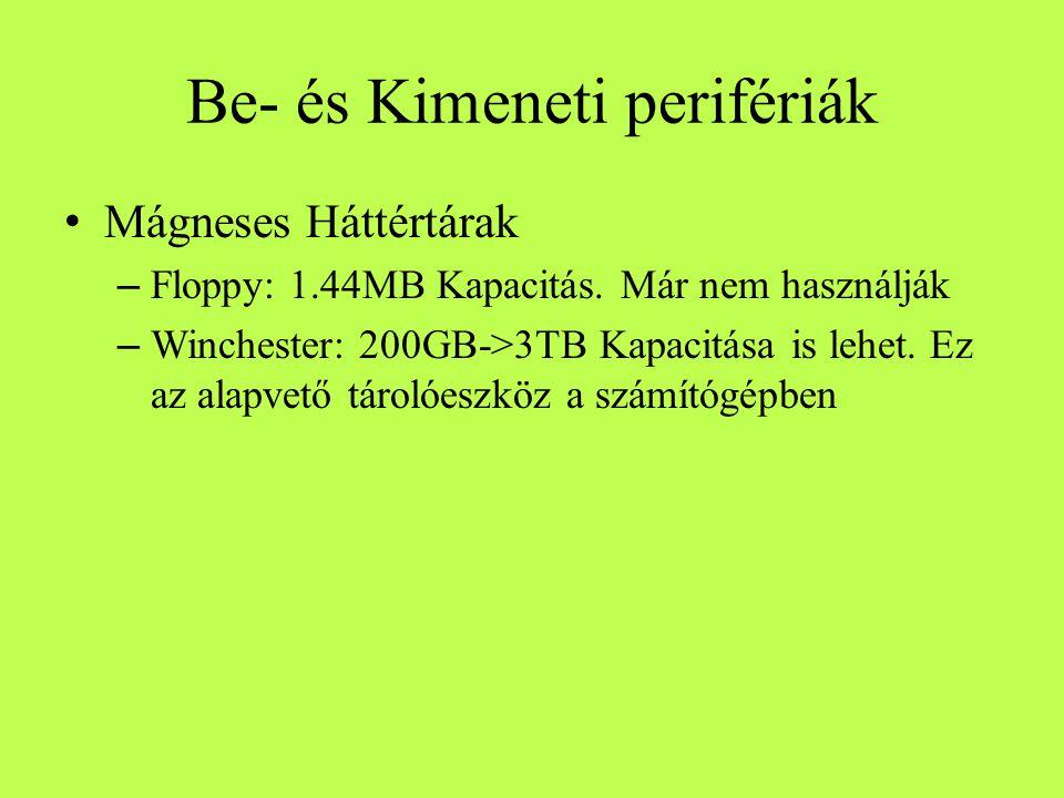 Be- és Kimeneti perifériák Mágneses Háttértárak – Floppy: 1.44MB Kapacitás. Már nem használják – Winchester: 200GB->3TB Kapacitása is lehet. Ez az ala