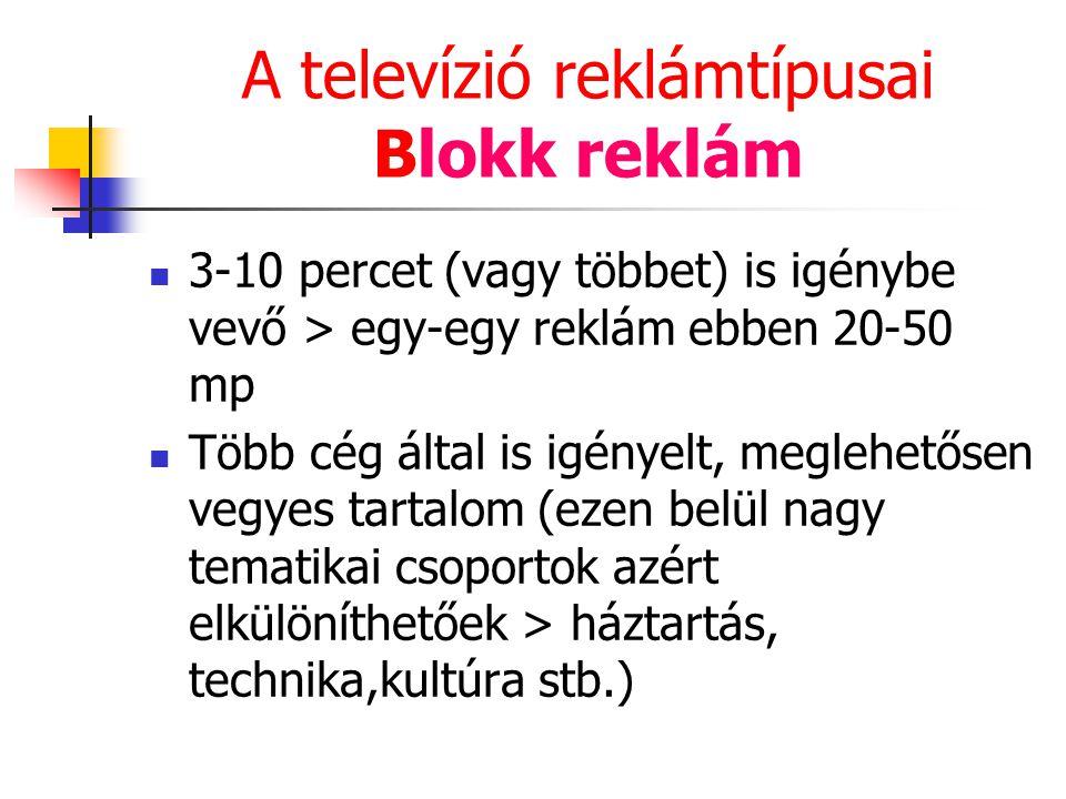 A televízió reklámtípusai Blokk reklám 3-10 percet (vagy többet) is igénybe vevő > egy-egy reklám ebben 20-50 mp Több cég által is igényelt, meglehető