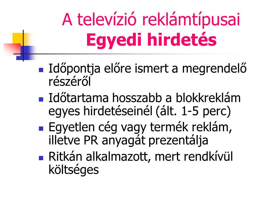 A televízió reklámtípusai Egyedi hirdetés Időpontja előre ismert a megrendelő részéről Időtartama hosszabb a blokkreklám egyes hirdetéseinél (ált. 1-5
