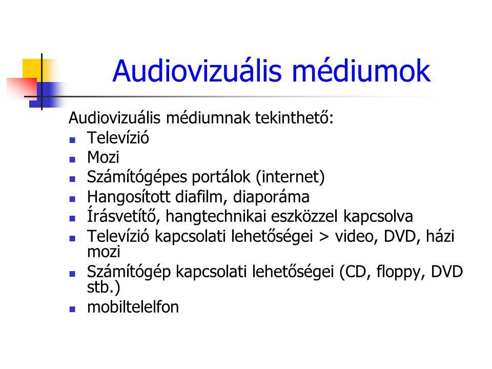 Audiovizuális médiumok Audiovizuális médiumnak tekinthető: Televízió Mozi Számítógépes portálok (internet) Hangosított diafilm, diaporáma Írásvetítő,