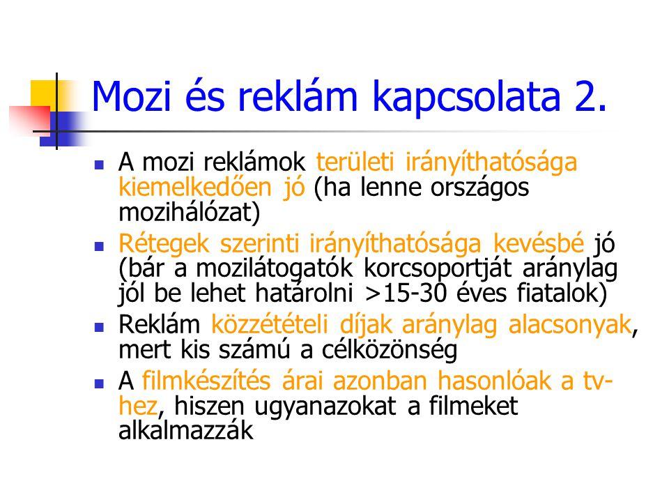Mozi és reklám kapcsolata 2. A mozi reklámok területi irányíthatósága kiemelkedően jó (ha lenne országos mozihálózat) Rétegek szerinti irányíthatósága