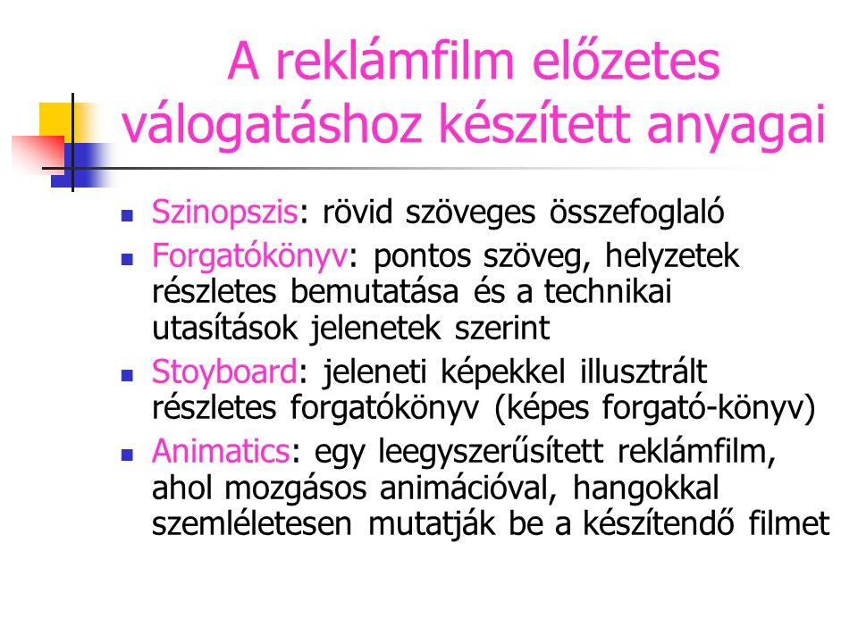 A reklámfilm előzetes válogatáshoz készített anyagai Szinopszis: rövid szöveges összefoglaló Forgatókönyv: pontos szöveg, helyzetek részletes bemutatá
