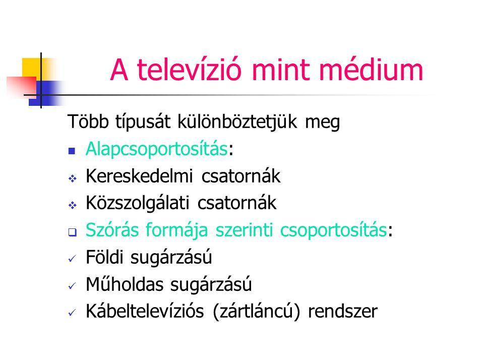 A televízió mint médium Több típusát különböztetjük meg Alapcsoportosítás:  Kereskedelmi csatornák  Közszolgálati csatornák  Szórás formája szerint