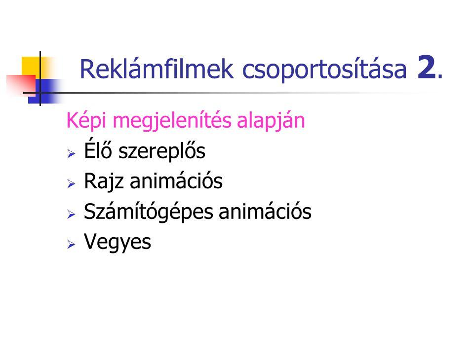 Reklámfilmek csoportosítása 2. Képi megjelenítés alapján  Élő szereplős  Rajz animációs  Számítógépes animációs  Vegyes