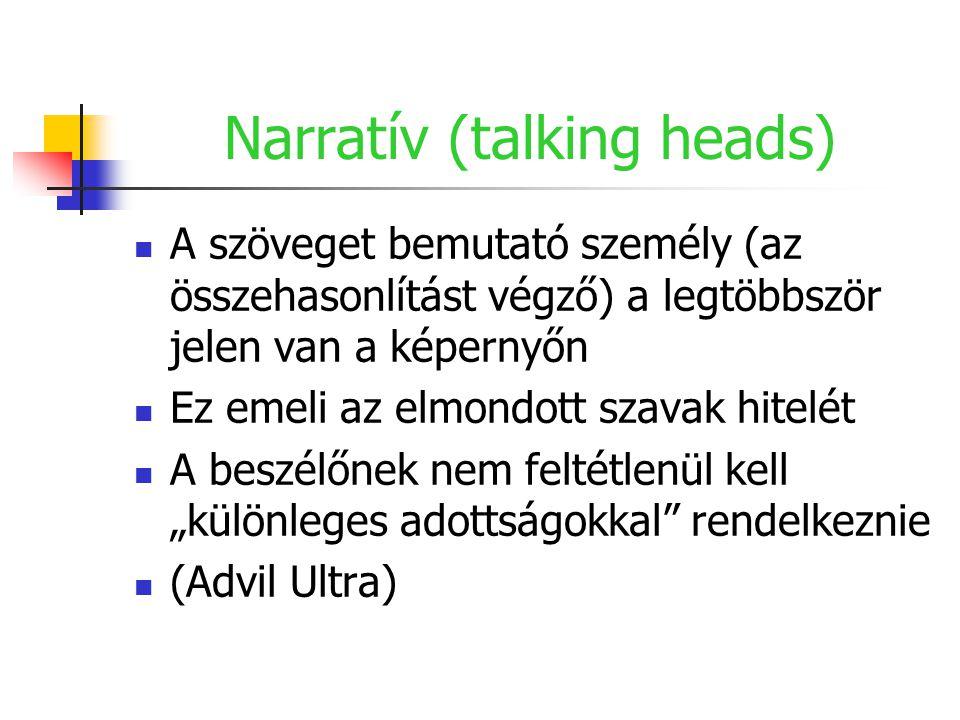 Narratív (talking heads) A szöveget bemutató személy (az összehasonlítást végző) a legtöbbször jelen van a képernyőn Ez emeli az elmondott szavak hite