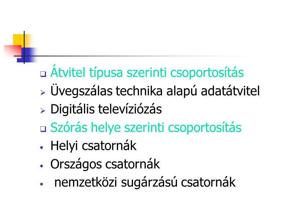  Átvitel típusa szerinti csoportosítás  Üvegszálas technika alapú adatátvitel  Digitális televíziózás  Szórás helye szerinti csoportosítás Helyi c