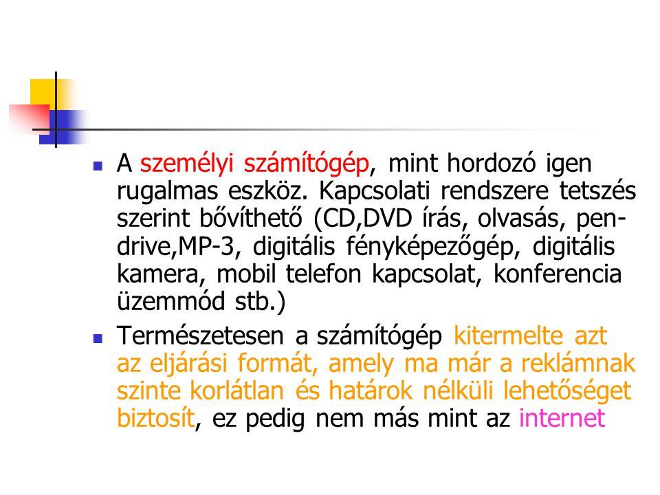 A személyi számítógép, mint hordozó igen rugalmas eszköz. Kapcsolati rendszere tetszés szerint bővíthető (CD,DVD írás, olvasás, pen- drive,MP-3, digit