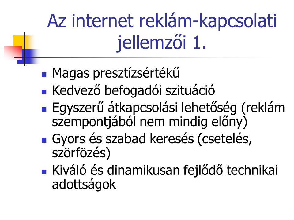 Az internet reklám-kapcsolati jellemzői 1. Magas presztízsértékű Kedvező befogadói szituáció Egyszerű átkapcsolási lehetőség (reklám szempontjából nem
