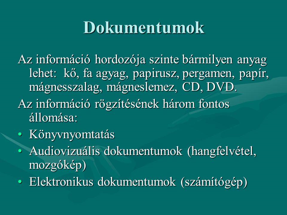 Dokumentumok Az információ hordozója szinte bármilyen anyag lehet: kő, fa agyag, papirusz, pergamen, papír, mágnesszalag, mágneslemez, CD, DVD. Az inf