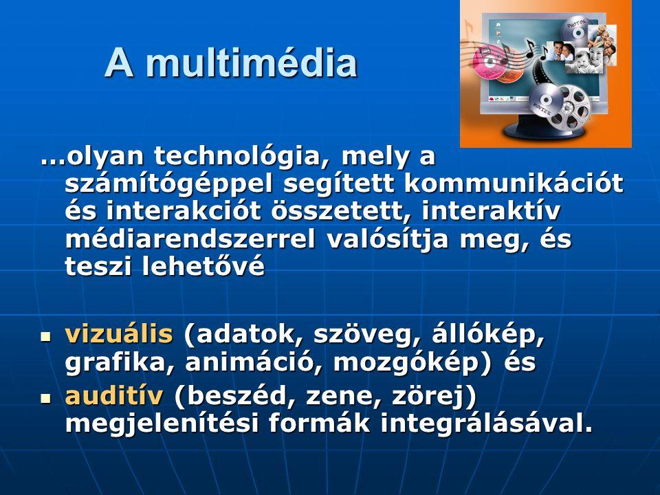 A multimédia …olyan technológia, mely a számítógéppel segített kommunikációt és interakciót összetett, interaktív médiarendszerrel valósítja meg, és teszi lehetővé vizuális (adatok, szöveg, állókép, grafika, animáció, mozgókép) és vizuális (adatok, szöveg, állókép, grafika, animáció, mozgókép) és auditív (beszéd, zene, zörej) megjelenítési formák integrálásával.