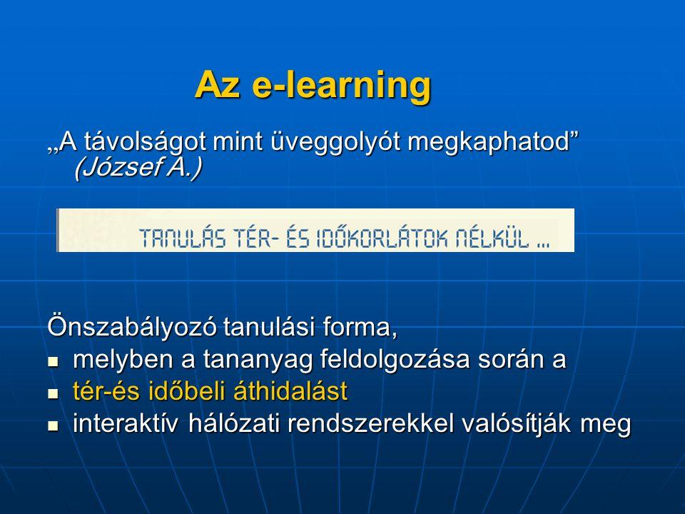 """Az e-learning """" A távolságot mint üveggolyót megkaphatod (József A.) Önszabályozó tanulási forma, melyben a tananyag feldolgozása során a melyben a tananyag feldolgozása során a tér-és időbeli áthidalást tér-és időbeli áthidalást interaktív hálózati rendszerekkel valósítják meg interaktív hálózati rendszerekkel valósítják meg"""
