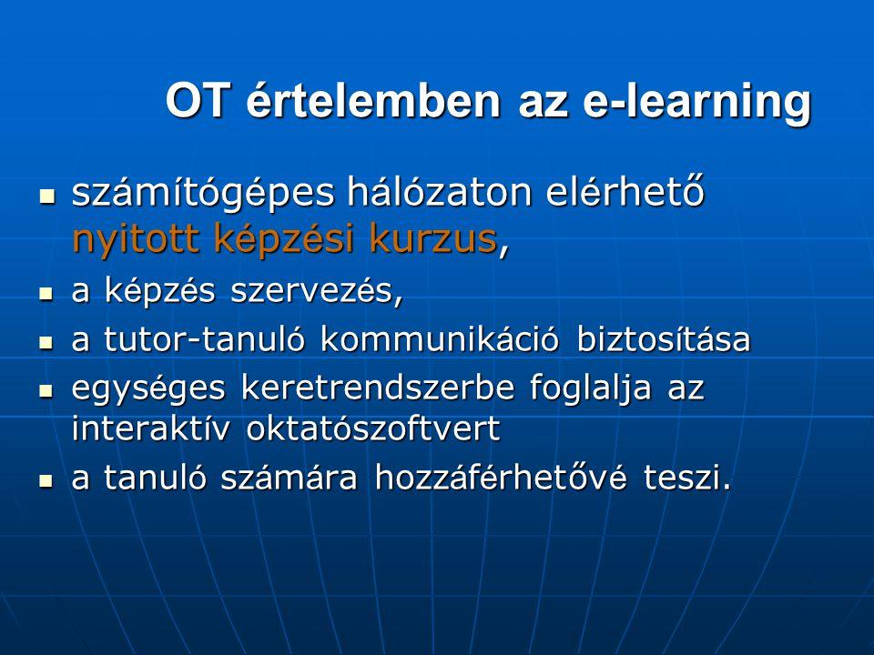 OT értelemben az e-learning sz á m í t ó g é pes h á l ó zaton el é rhető nyitott k é pz é si kurzus, sz á m í t ó g é pes h á l ó zaton el é rhető nyitott k é pz é si kurzus, a k é pz é s szervez é s, a k é pz é s szervez é s, a tutor-tanul ó kommunik á ci ó biztos í t á sa a tutor-tanul ó kommunik á ci ó biztos í t á sa egys é ges keretrendszerbe foglalja az interakt í v oktat ó szoftvert egys é ges keretrendszerbe foglalja az interakt í v oktat ó szoftvert a tanul ó sz á m á ra hozz á f é rhetőv é teszi.