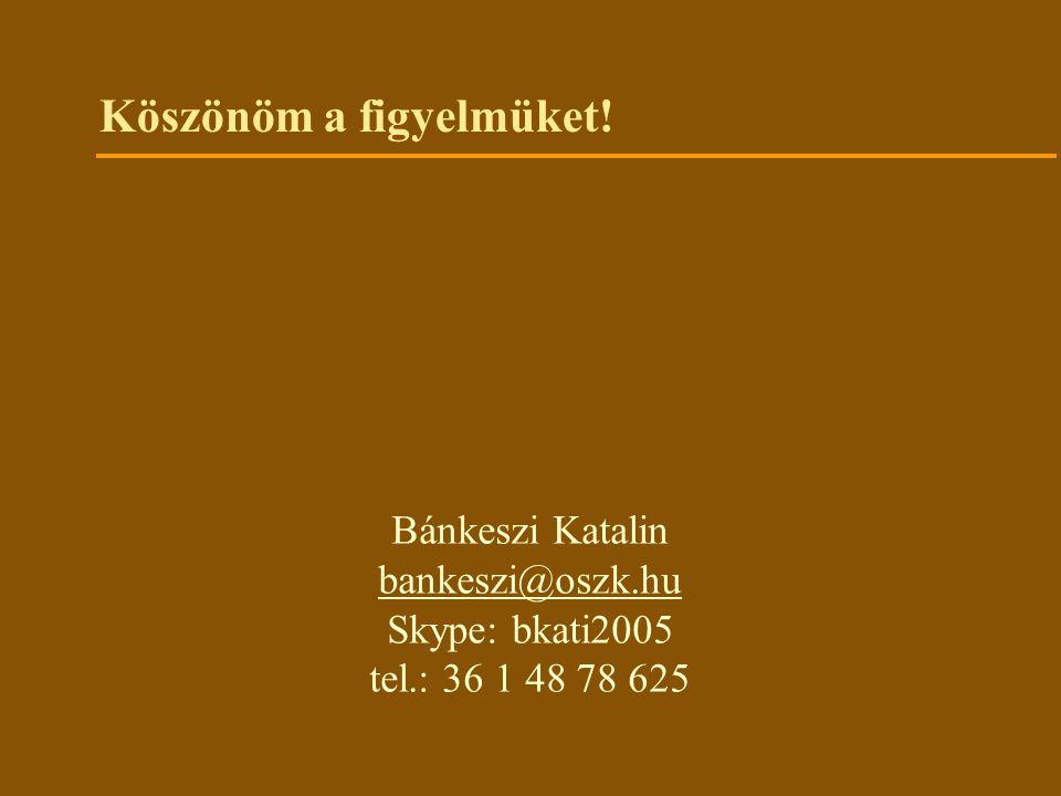 Köszönöm a figyelmüket! Bánkeszi Katalin bankeszi@oszk.hu Skype: bkati2005 tel.: 36 1 48 78 625