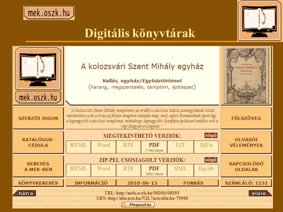 Digitális könyvtárak