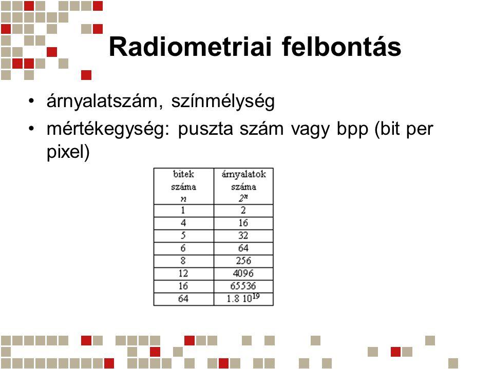 Radiometriai felbontás árnyalatszám, színmélység mértékegység: puszta szám vagy bpp (bit per pixel)